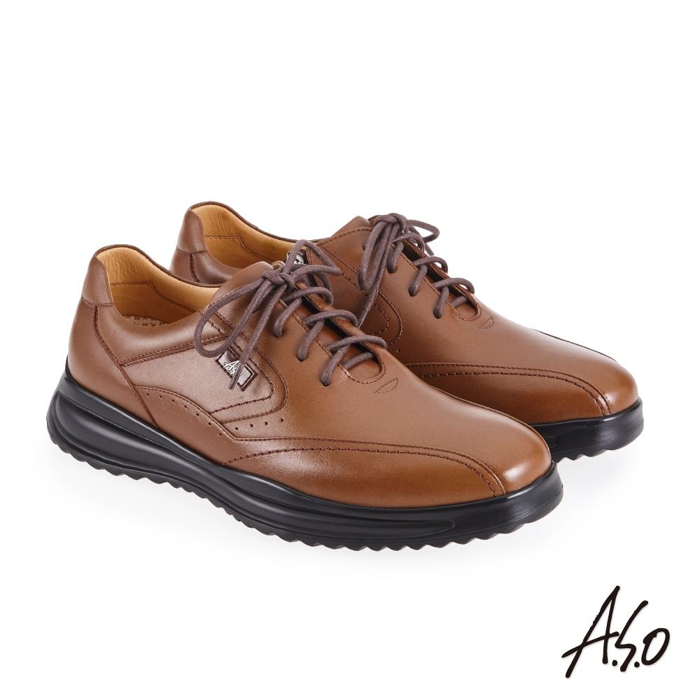 A.S.O 機能休閒 萬步健康鞋 內腰拉鍊設計款商務休閒鞋-茶