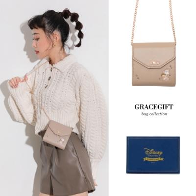 Disney collection by grace gift-迪士尼奇奇蒂蒂2way卡夾鍊條包 淺咖