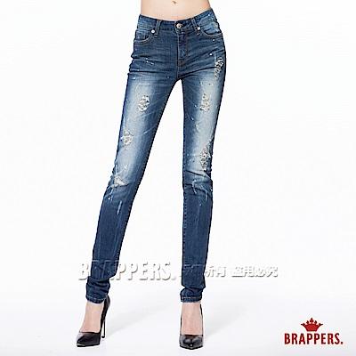 BRAPPERS 女款 新美腳Royal系列-女用中低腰彈性窄管褲-深藍