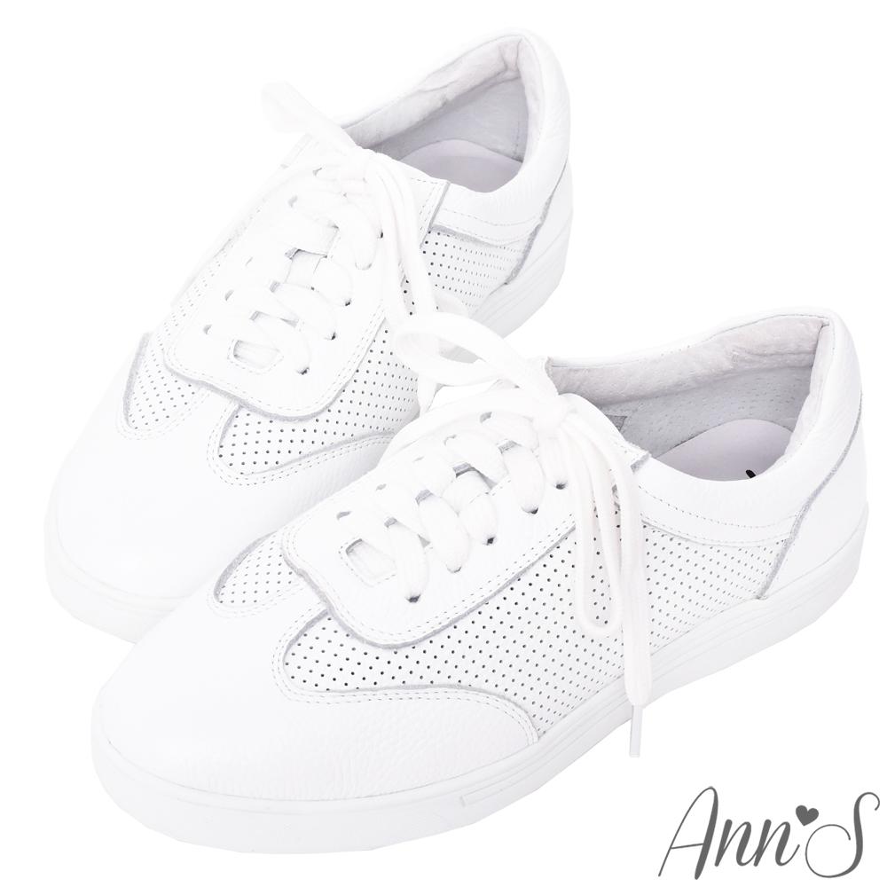 Ann'S第二代超軟真牛皮經典復刻休閒透氣孔綁帶小白鞋