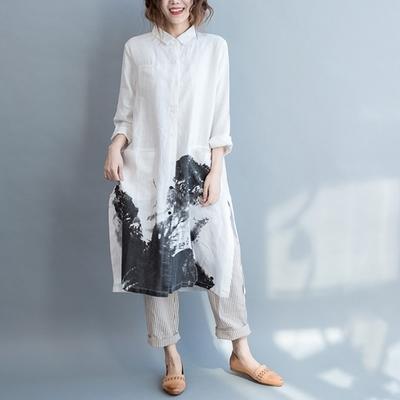 米蘭精品 連身裙長袖洋裝-水墨印花寬鬆民族風女裙子2色73xz41