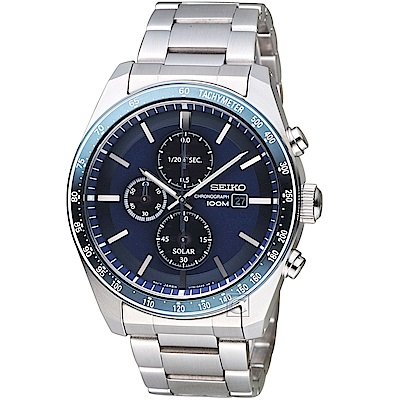 SEIKO 精工 潮流時尚太陽能計時腕錶(SSC727P1)-藍