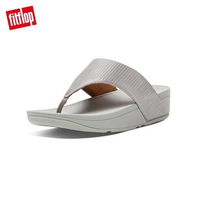 FitFlop OLIVE TEXTURED GLITZ TOE-POST SANDALS高包覆性舒適夾腳涼鞋-女(銀色)