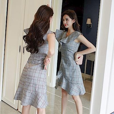 DABI 韓國風夏灰格子荷葉邊OL不規則無袖洋裝