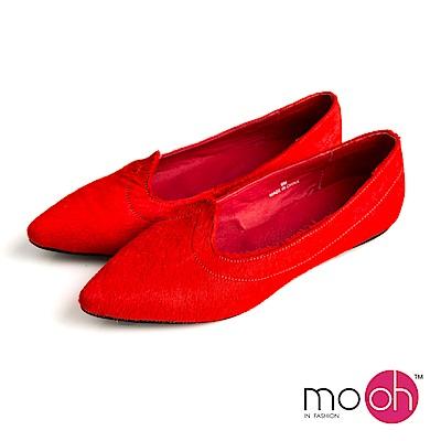 mo.oh-全真皮-尖頭馬毛淺口平底娃娃鞋-紅色