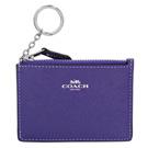 COACH紫色防刮皮革後卡夾鑰匙零錢包