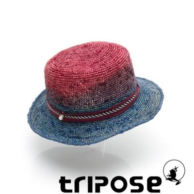 tripose GAIL 100%手工Raffia時尚遮陽草帽-帽簷5cm(扎染紅X淺藍)