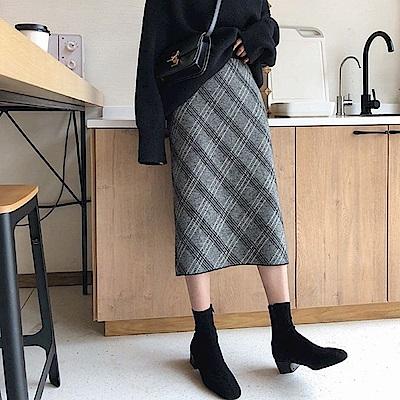 超美格紋毛料及膝裙-2色-TMH