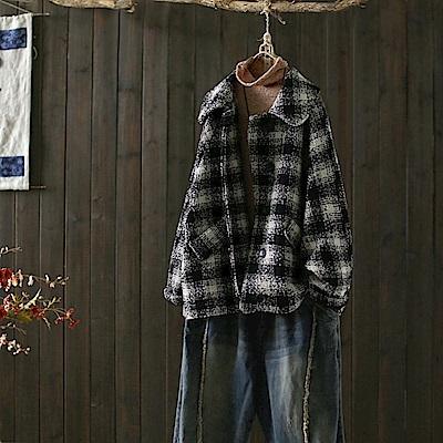 大翻領格子毛呢外套呢子大衣夾克/設計所在Y4964