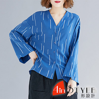 V領線條印花喇叭袖襯衫 (共二色)-4inSTYLE形設計