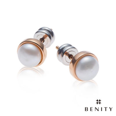 BENITY 生命種子 天然珍珠 白鋼款 316白鋼  IP玫瑰金 耳環