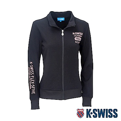 K-SWISS Solid Mock Neck Jacket運動外套-女-黑