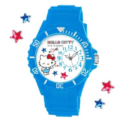 Sanrio三麗鷗偏機芯貼鑽系列運動彩帶錶-Hello Kitty啾咪凱蒂貓40mm水藍色
