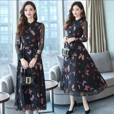 【韓國K.W.】時尚元素仙女雪紡修身洋裝-1色