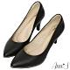 Ann'S美腿公式-小羊皮金色夾心尖頭高跟鞋-黑 product thumbnail 1