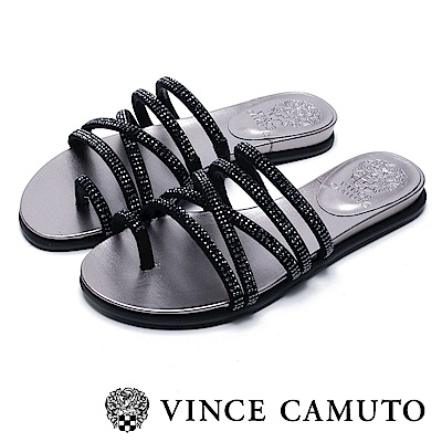 VINCE CAMUTO 交叉帶水鑽平底涼鞋-絨黑