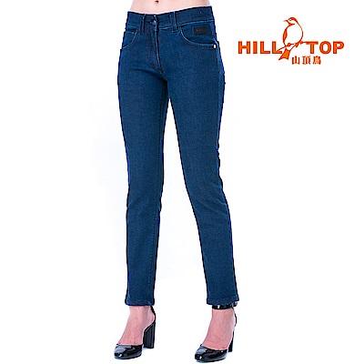 【hilltop山頂鳥】女款保暖修身牛仔褲H31FL1深藍