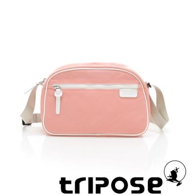 tripose PIPE系列滾邊梯型斜背包 淺粉