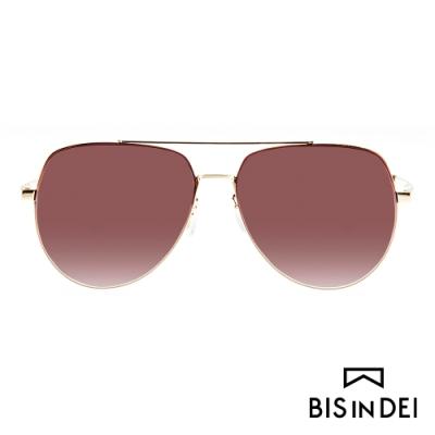 BIS IN DEI 雙槓金屬框太陽眼鏡-棕