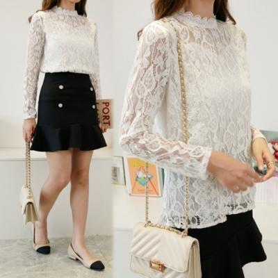 【韓國K.W.】(預購)仙氣優雅OL蕾絲上衣-2色