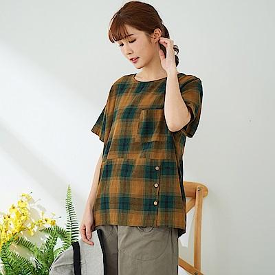 慢 生活 漸層格紋棉麻上衣-綠色