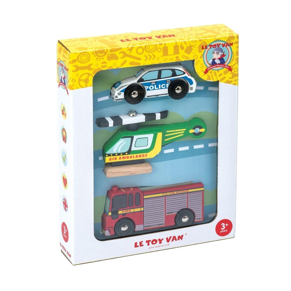 英國 Le Toy Van 小小工程師系列-急難救護大隊玩具組 (經典3入)