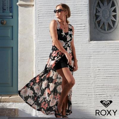 【ROXY】FLOWERS CROWN 印花絲質洋裝/連身褲 黑