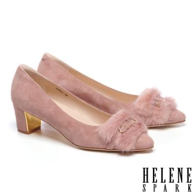 高跟鞋 HELENE SPARK 奢華暖感水貂毛鑽釦全真皮粗高跟鞋-粉