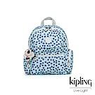 Kipling 典雅淡藍小花翻蓋多口袋拉鍊後背包-MATTA