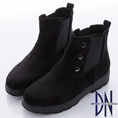 DN 都會時尚 素面仿麂皮銅釦厚底靴-黑