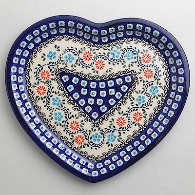 波蘭陶典雅花團系列愛心造型餐盤波蘭手工製