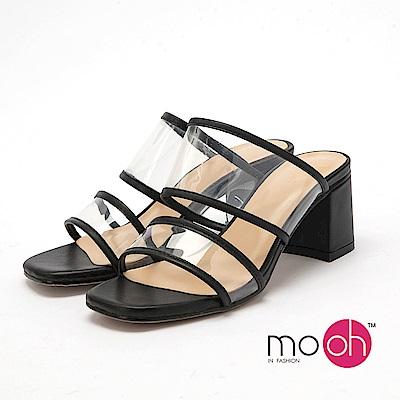 mo.oh - 全真皮-一字透明粗跟方頭涼鞋-黑色