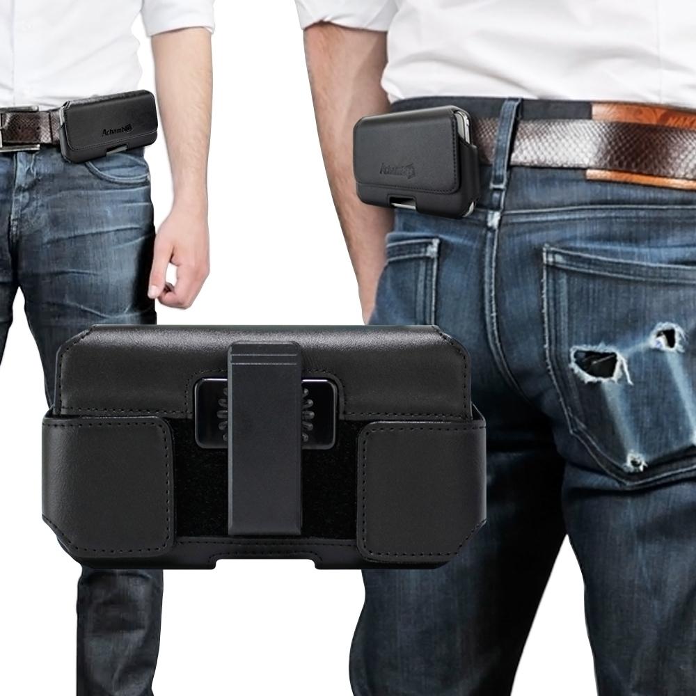 Achamber for Samsung Galaxy Note 20 Ultra 真皮型男旋轉腰夾腰掛 橫式皮套