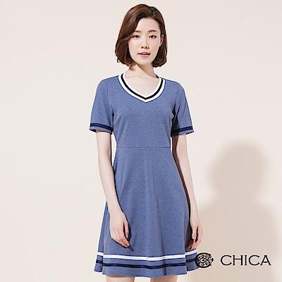 CHICA 學院回潮條紋織帶V領洋裝(2色)