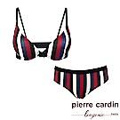 Pierre Cardin皮爾卡登 C罩 直條紋印花內衣(成套-紅藍)