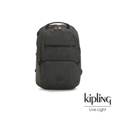Kipling 復古質感丹寧黑前後雙層收納後背包-TROY