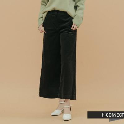 H:CONNECT 韓國品牌 女裝 - 知性絨面A字寬褲 - 黑