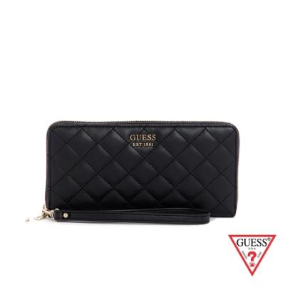 GUESS-女包-時尚菱格壓紋長夾-黑