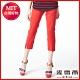 麥雪爾 玫瑰花鑲水鑽貼布繡長褲-紅 product thumbnail 1