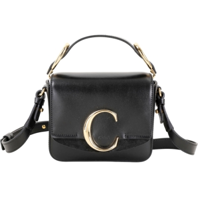 CHLOE C Bag 迷你款 光滑小牛皮拼接麂皮手提斜背包(黑色)