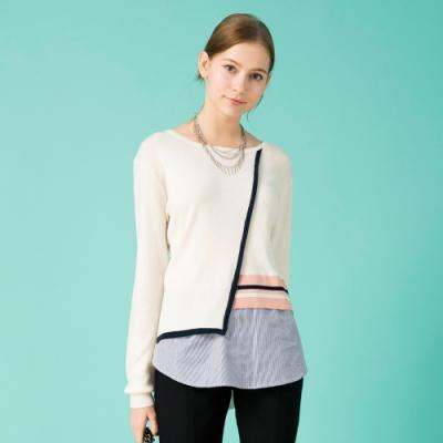 【IGD 英格麗】多層次條紋拼接羊毛針織上衣-白