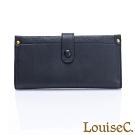 LouiseC.  植鞣牛皮 多層釦式長夾 可拆式內夾層-沉穩黑 WI7008-05