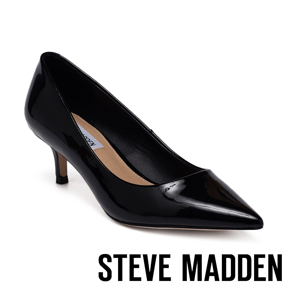 STEVE MADDEN-SABRINAH 熱銷百搭皮質尖頭中跟女鞋-黑色