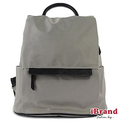 iBrand後背包 率性時尚皮飾後開式防盜尼龍後背包-灰色