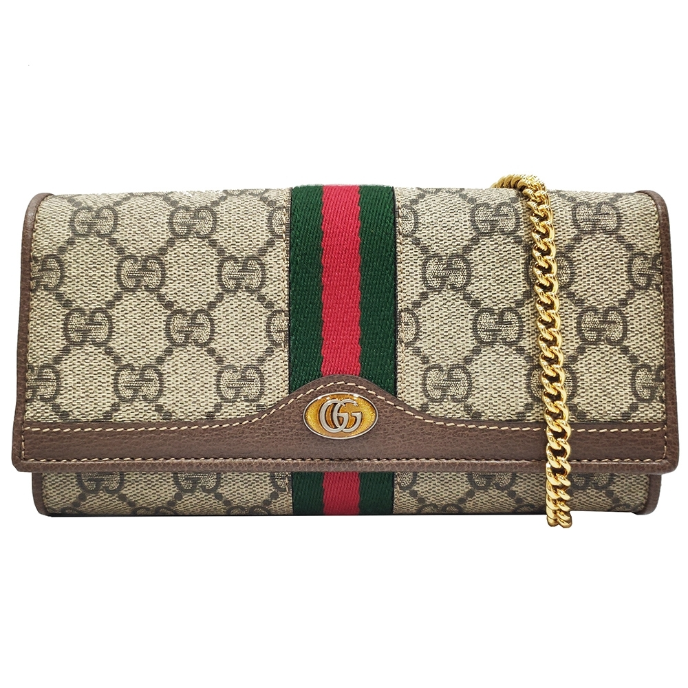 GUCCI Ophidia GG Chain 綠紅綠織帶皮夾鍊帶包(棕色) product image 1
