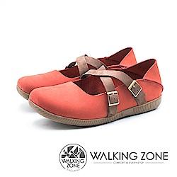 WALKING ZONE 皮革雙帶兩穿休閒鞋 女鞋 - 紅 (另有藍)