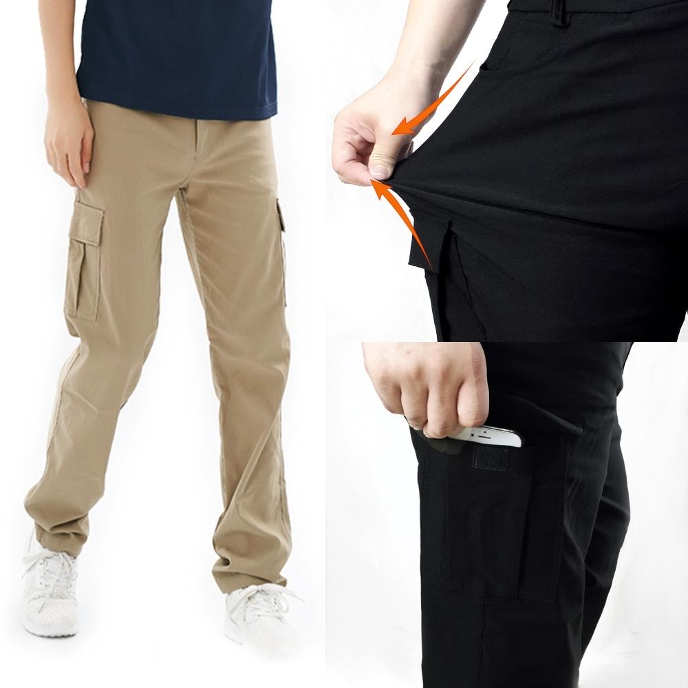 【遊遍天下】多口袋款修身彈力時尚休閒長褲P136(兩色)