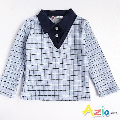 Azio Kids 上衣  假兩件格紋襯衫領長袖上衣(藍格)