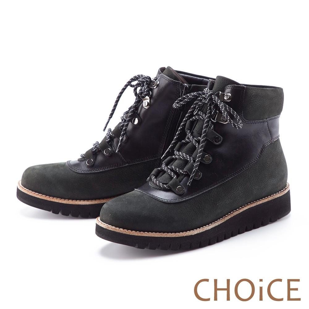 CHOiCE 荔枝紋真皮綁帶帥氣 女 短靴 綠色