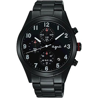 agnes b. 巴黎城市風尚計時腕錶(BM3011X1)-黑/40mm